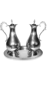 Cruet Set: Pewter Cruet Set with tray